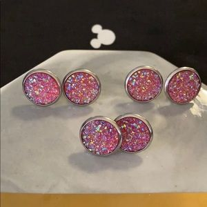 Jewelry - Sale 5/$15 large round pink glitter earrings